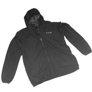 Hurley Men's Black Hooded Jacket Size Large